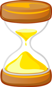 Picture of an hourglass slowly counting down time