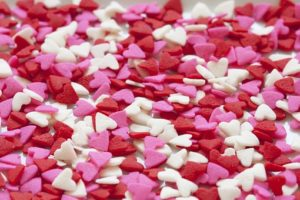Picture background of pink, white, and red hearts
